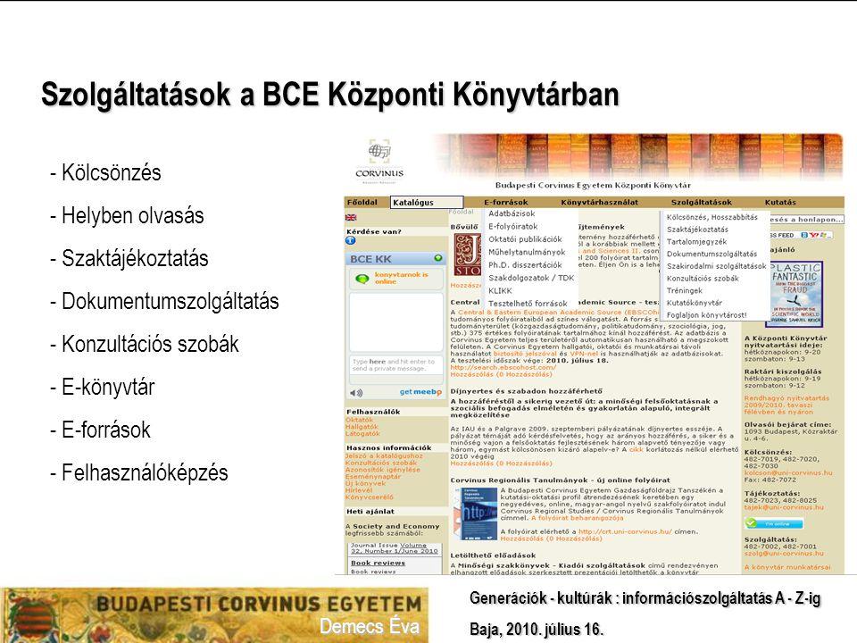 Szolgáltatások a BCE Központi Könyvtárban