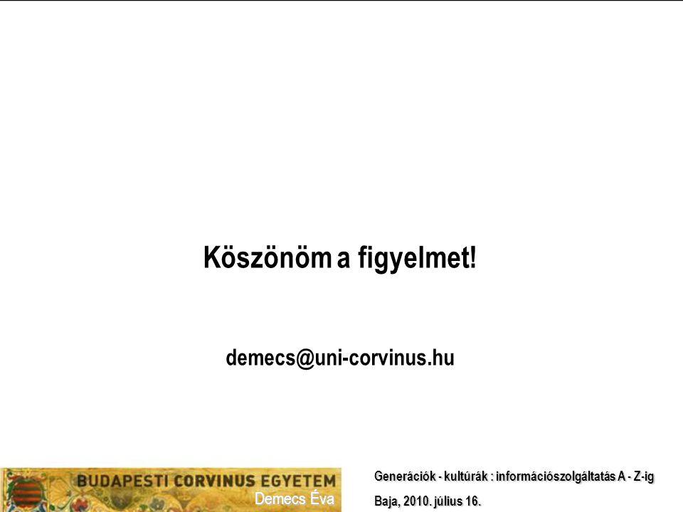 Köszönöm a figyelmet! demecs@uni-corvinus.hu Demecs Éva