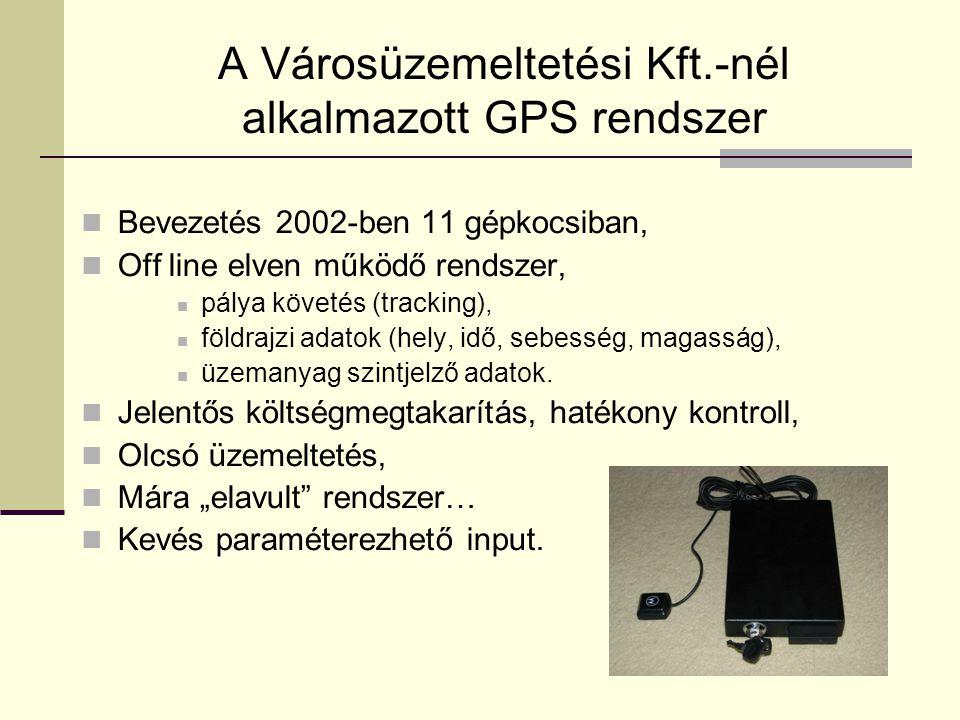 A Városüzemeltetési Kft.-nél alkalmazott GPS rendszer