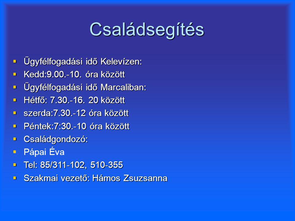 Családsegítés Ügyfélfogadási idő Kelevízen: Kedd:9.00.-10. óra között