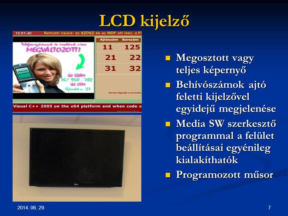 LCD kijelző Megosztott vagy teljes képernyő