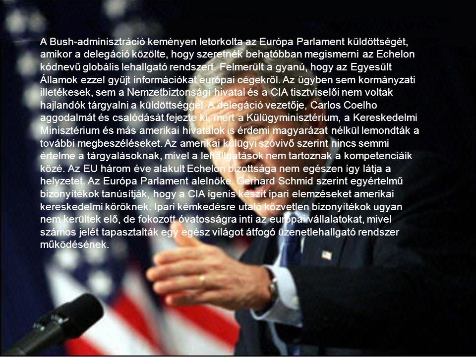 A Bush-adminisztráció keményen letorkolta az Európa Parlament küldöttségét, amikor a delegáció közölte, hogy szeretnék behatóbban megismerni az Echelon kódnevű globális lehallgató rendszert.