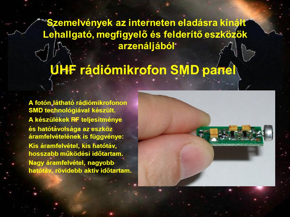 UHF rádiómikrofon SMD panel