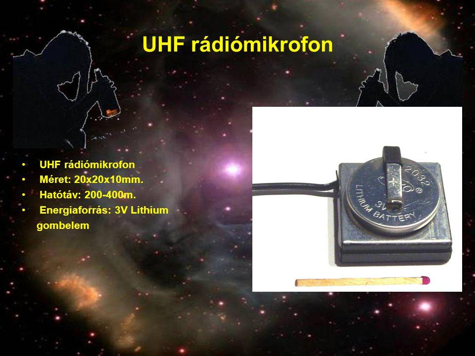 UHF rádiómikrofon UHF rádiómikrofon Méret: 20x20x10mm.
