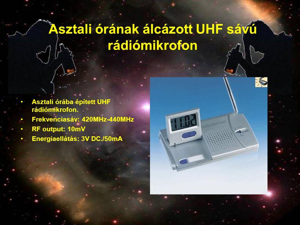 Asztali órának álcázott UHF sávú rádiómikrofon