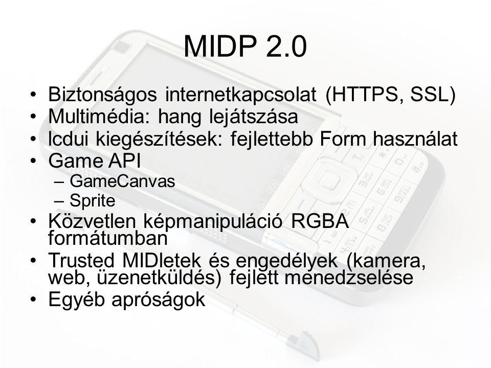 MIDP 2.0 Biztonságos internetkapcsolat (HTTPS, SSL)