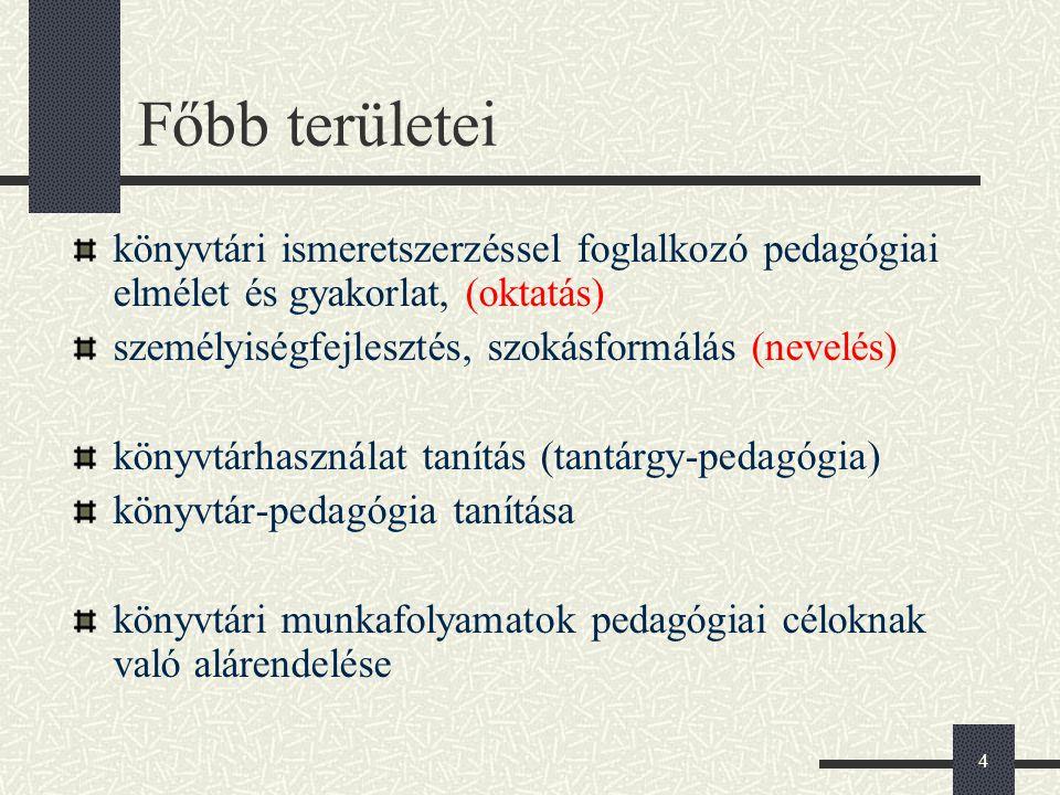 Főbb területei könyvtári ismeretszerzéssel foglalkozó pedagógiai elmélet és gyakorlat, (oktatás) személyiségfejlesztés, szokásformálás (nevelés)