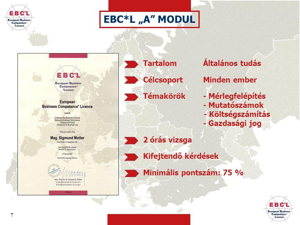 """EBC*L """"A MODUL Tartalom Általános tudás Célcsoport Minden ember"""