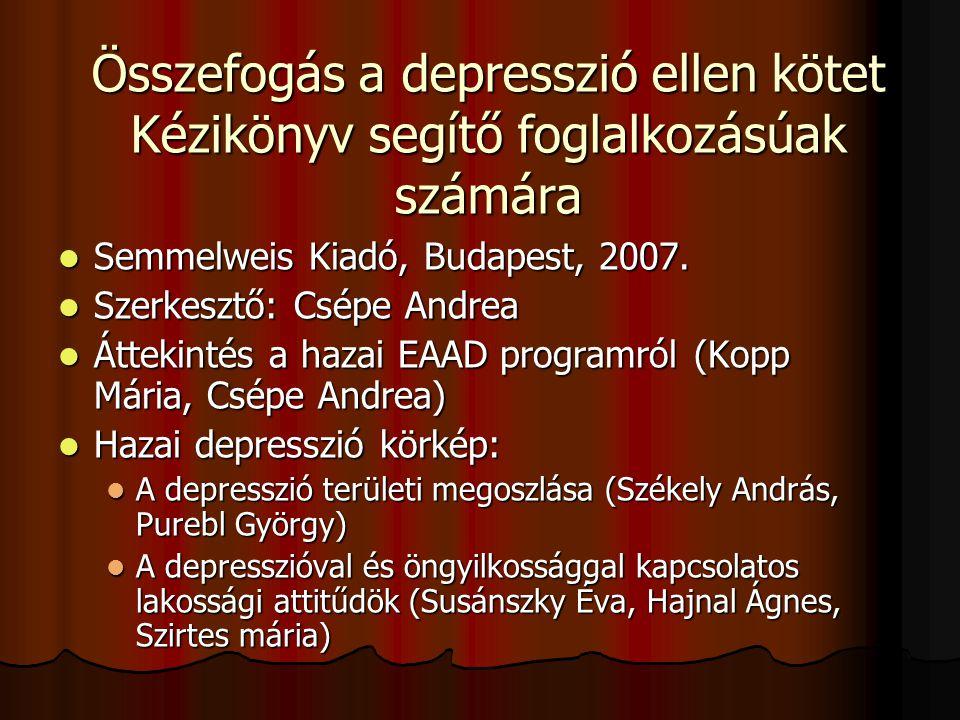 Összefogás a depresszió ellen kötet Kézikönyv segítő foglalkozásúak számára