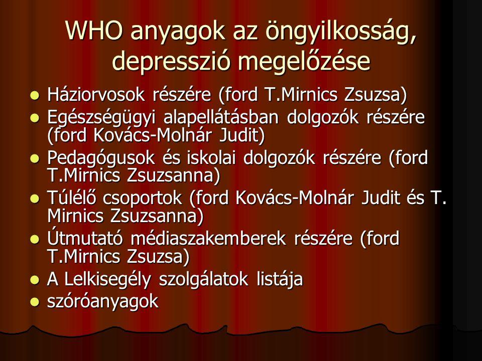 WHO anyagok az öngyilkosság, depresszió megelőzése