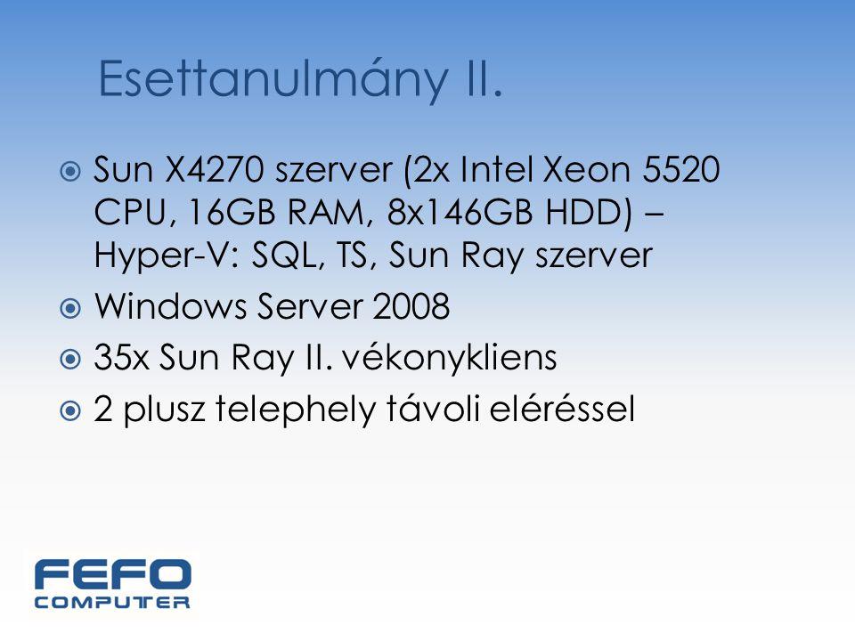 Esettanulmány II. Sun X4270 szerver (2x Intel Xeon 5520 CPU, 16GB RAM, 8x146GB HDD) – Hyper-V: SQL, TS, Sun Ray szerver.