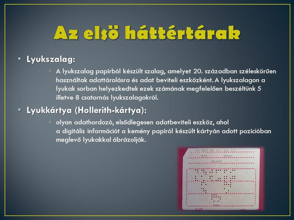 Az elsö háttértárak Lyukszalag: Lyukkártya (Hollerith-kártya):