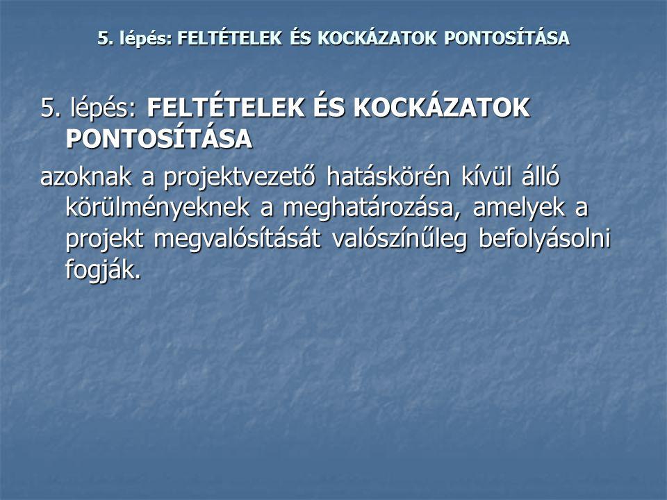 5. lépés: FELTÉTELEK ÉS KOCKÁZATOK PONTOSÍTÁSA