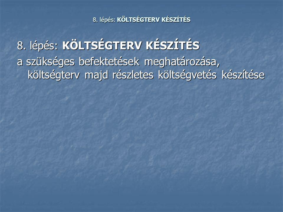 8. lépés: KÖLTSÉGTERV KÉSZÍTÉS