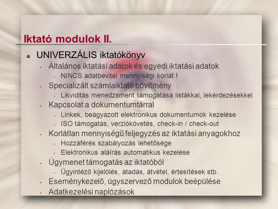 Iktató modulok II. UNIVERZÁLIS iktatókönyv