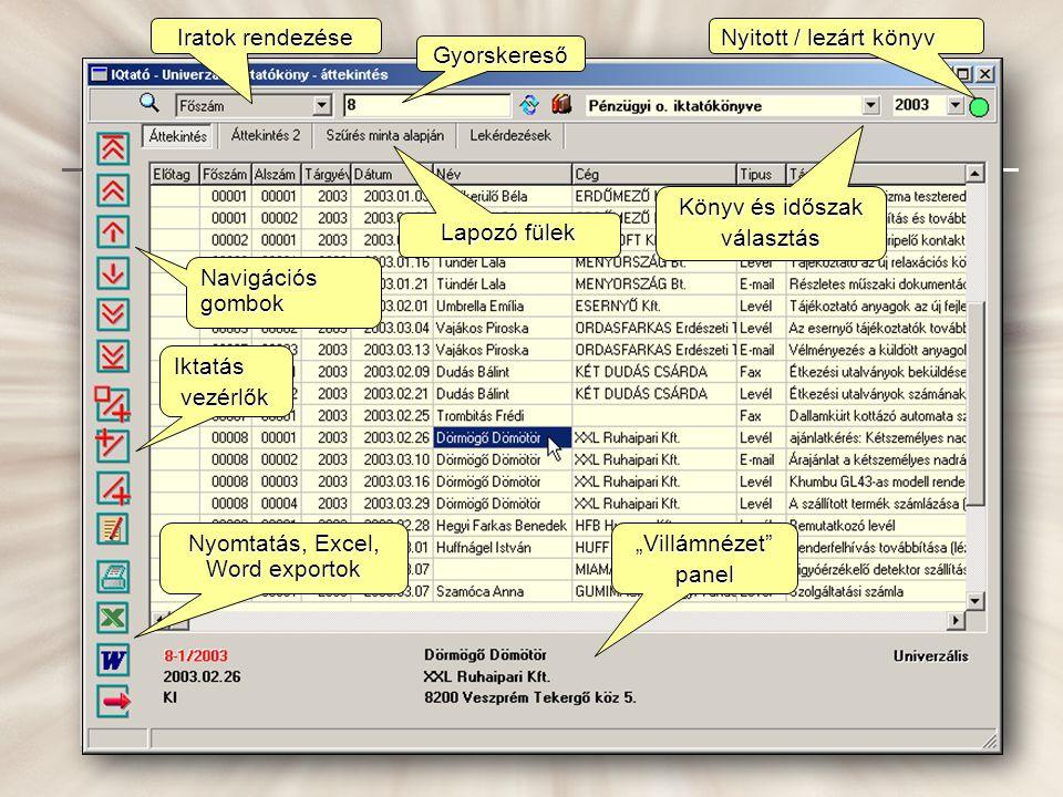 Nyomtatás, Excel, Word exportok