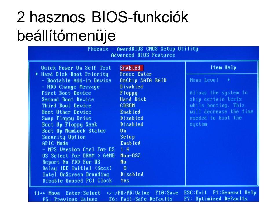 2 hasznos BIOS-funkciók beállítómenüje