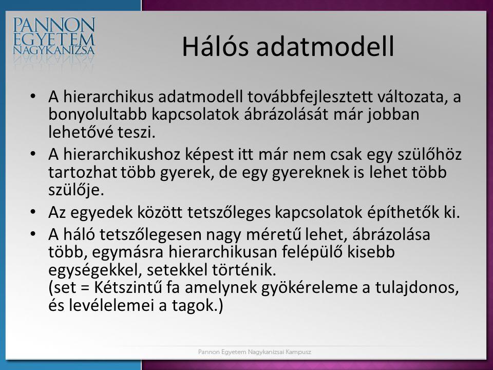 Hálós adatmodell A hierarchikus adatmodell továbbfejlesztett változata, a bonyolultabb kapcsolatok ábrázolását már jobban lehetővé teszi.