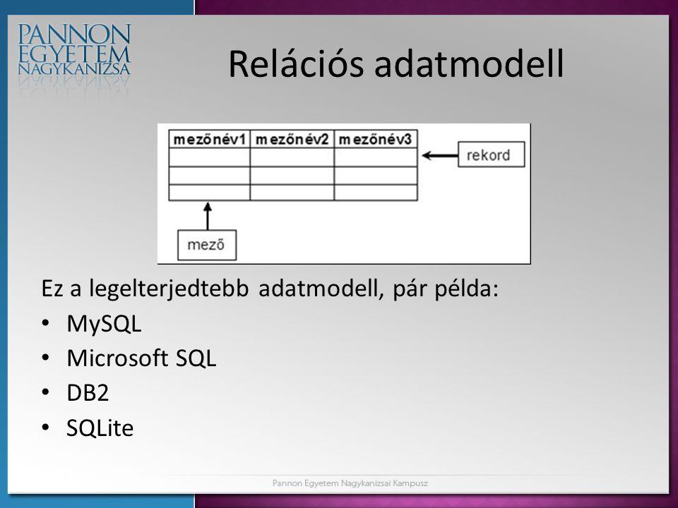 Relációs adatmodell Ez a legelterjedtebb adatmodell, pár példa: MySQL