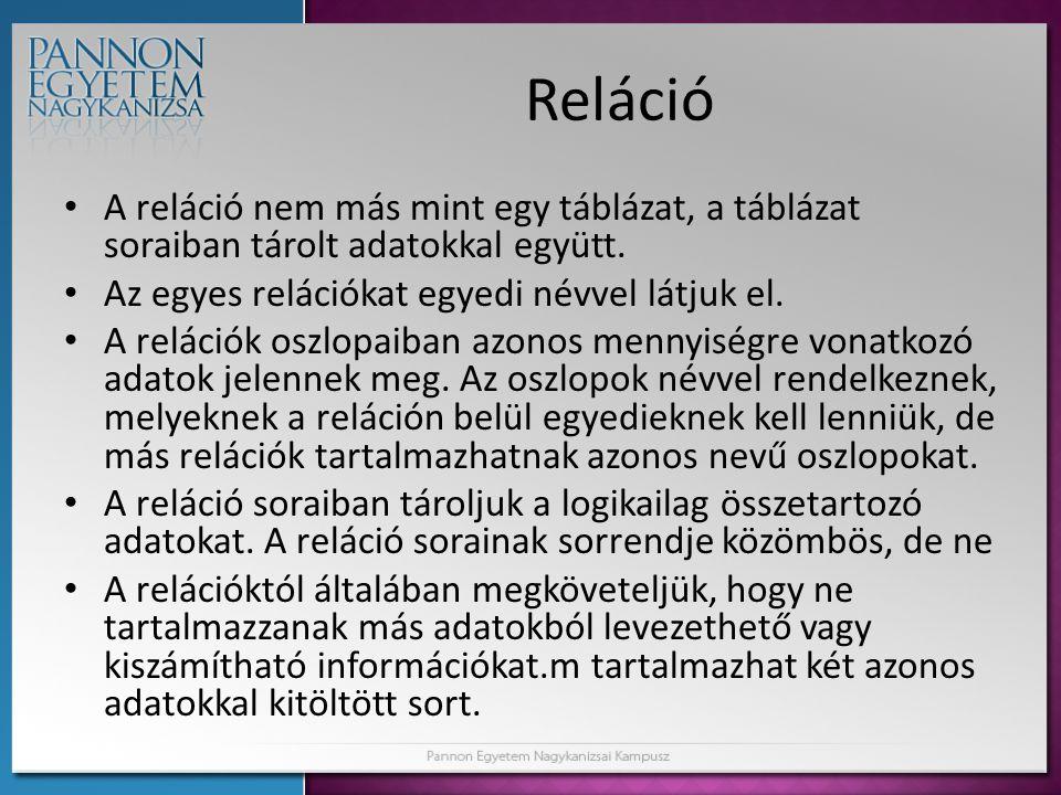 Reláció A reláció nem más mint egy táblázat, a táblázat soraiban tárolt adatokkal együtt. Az egyes relációkat egyedi névvel látjuk el.