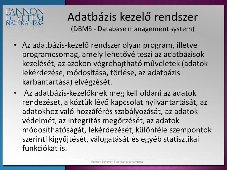 Adatbázis kezelő rendszer (DBMS - Database management system)