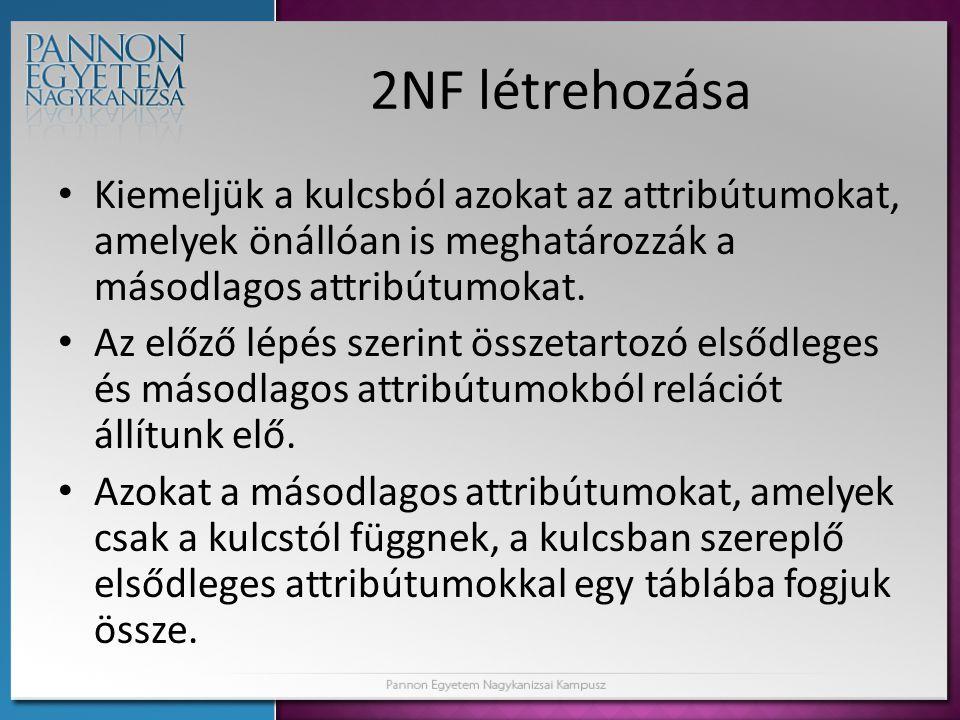 2NF létrehozása Kiemeljük a kulcsból azokat az attribútumokat, amelyek önállóan is meghatározzák a másodlagos attribútumokat.