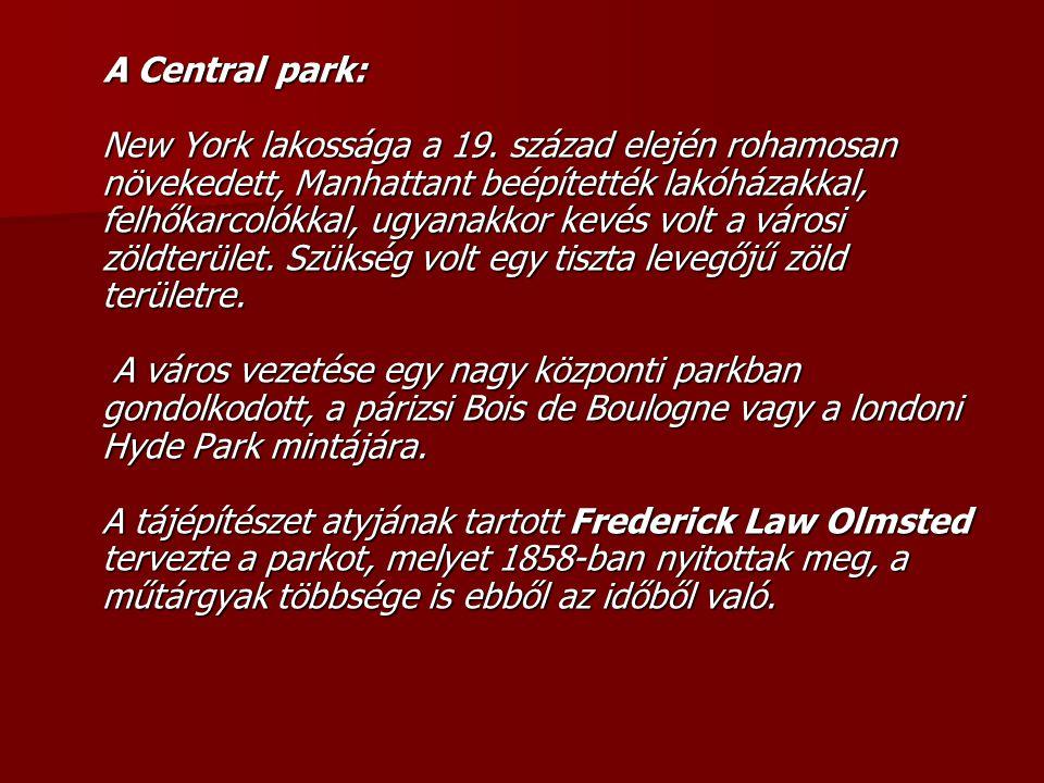 A Central park: New York lakossága a 19
