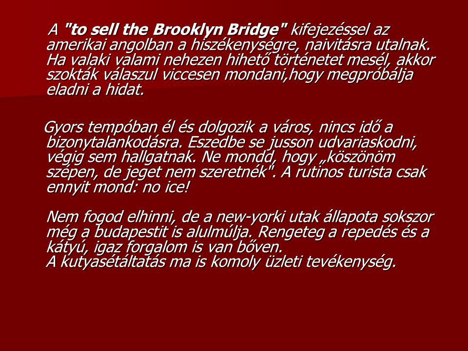 A to sell the Brooklyn Bridge kifejezéssel az amerikai angolban a hiszékenységre, naivitásra utalnak. Ha valaki valami nehezen hihető történetet mesél, akkor szokták válaszul viccesen mondani,hogy megpróbálja eladni a hidat.