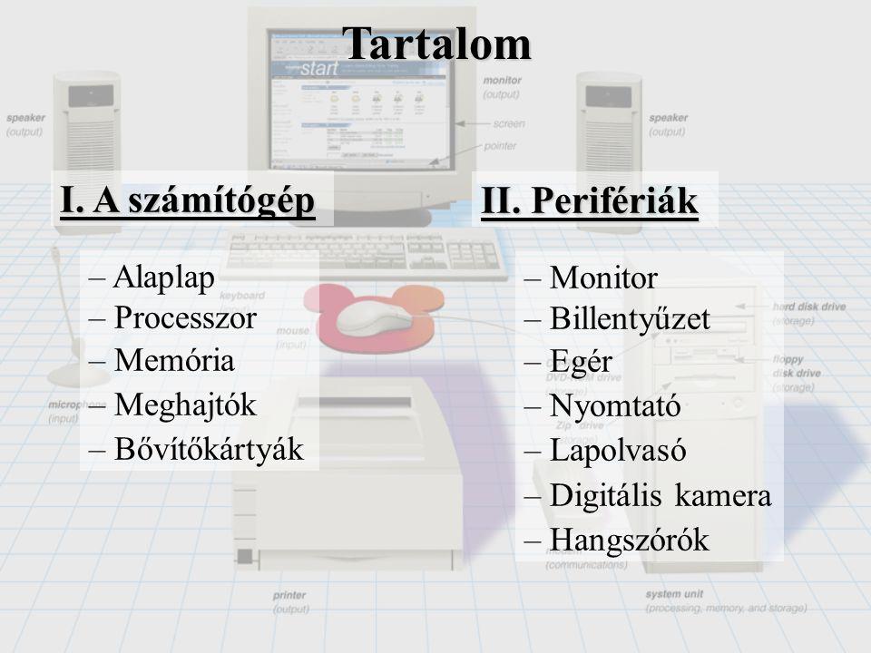 Tartalom I. A számítógép II. Perifériák Alaplap Monitor Processzor