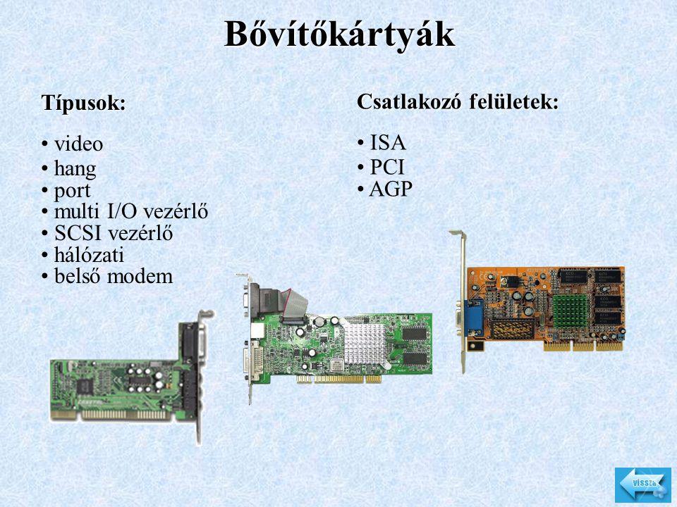 Bővítőkártyák Típusok: Csatlakozó felületek: video ISA hang PCI port