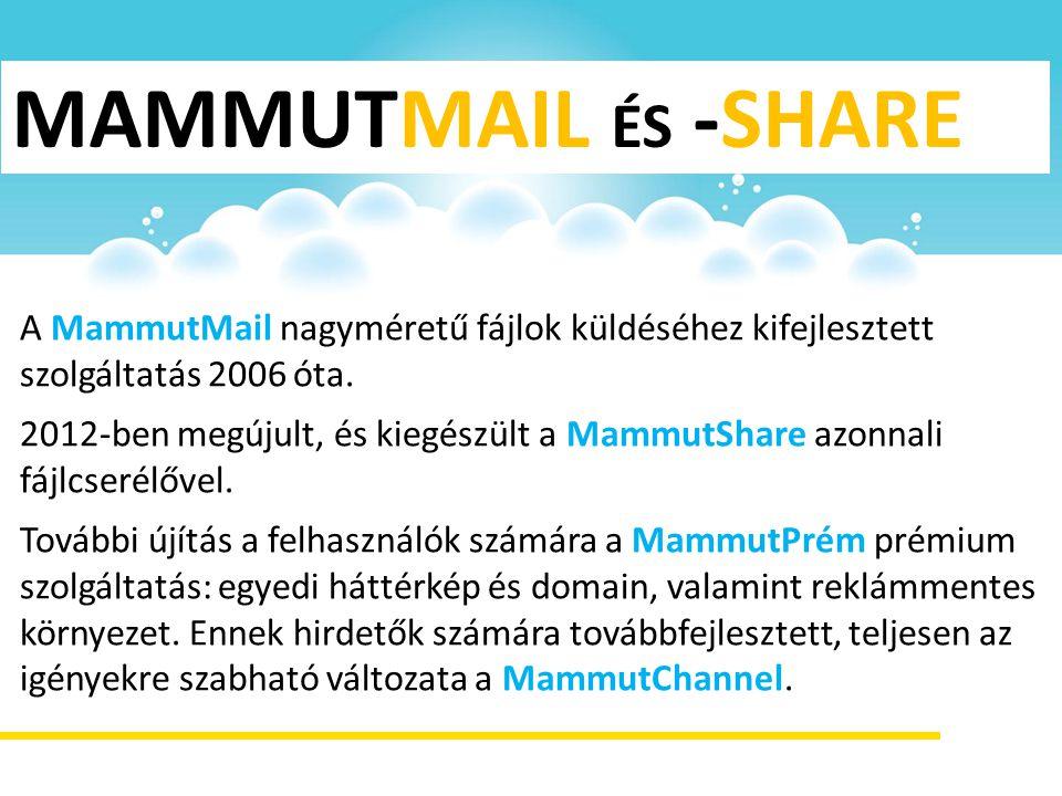 MAMMUTMAIL ÉS -SHARE A MammutMail nagyméretű fájlok küldéséhez kifejlesztett szolgáltatás 2006 óta.