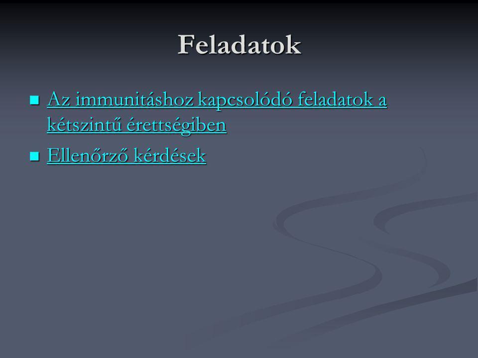 Feladatok Az immunitáshoz kapcsolódó feladatok a kétszintű érettségiben Ellenőrző kérdések