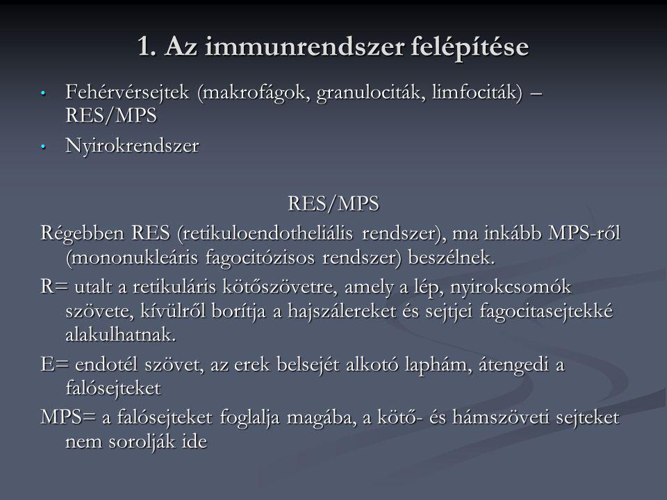 1. Az immunrendszer felépítése