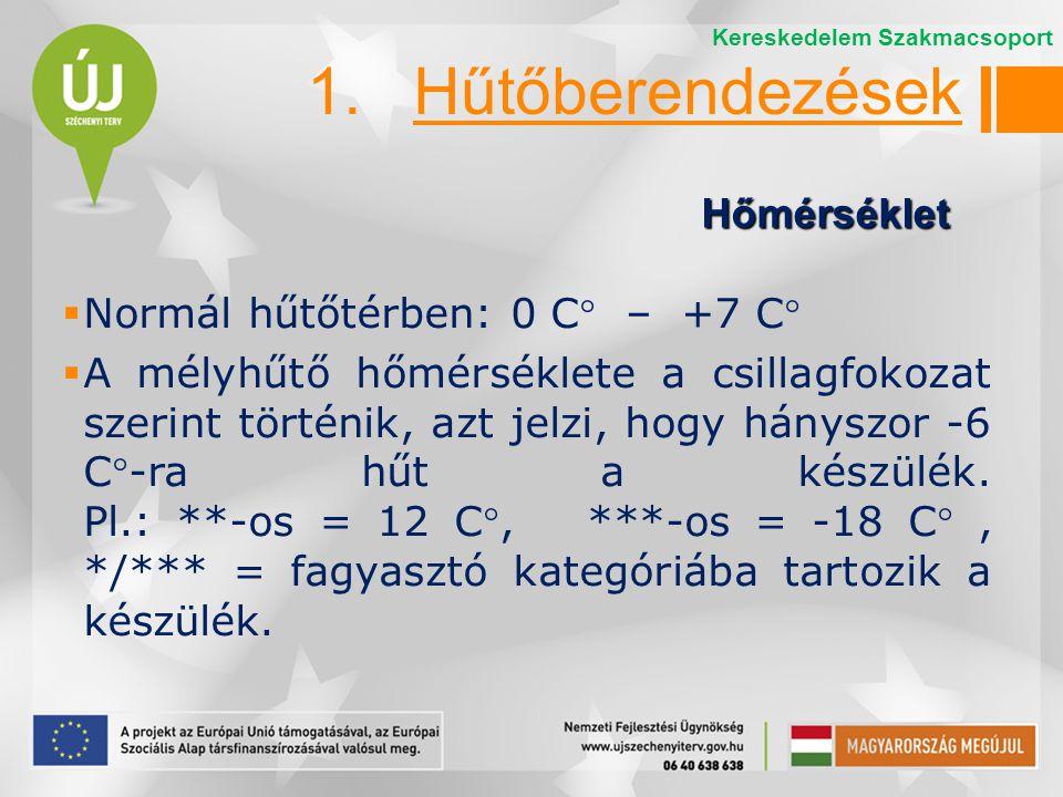 1. Hűtőberendezések Hőmérséklet Normál hűtőtérben: 0 C – +7 C
