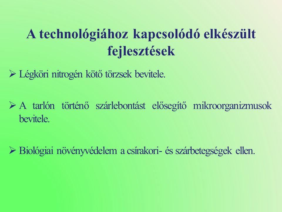 A technológiához kapcsolódó elkészült fejlesztések