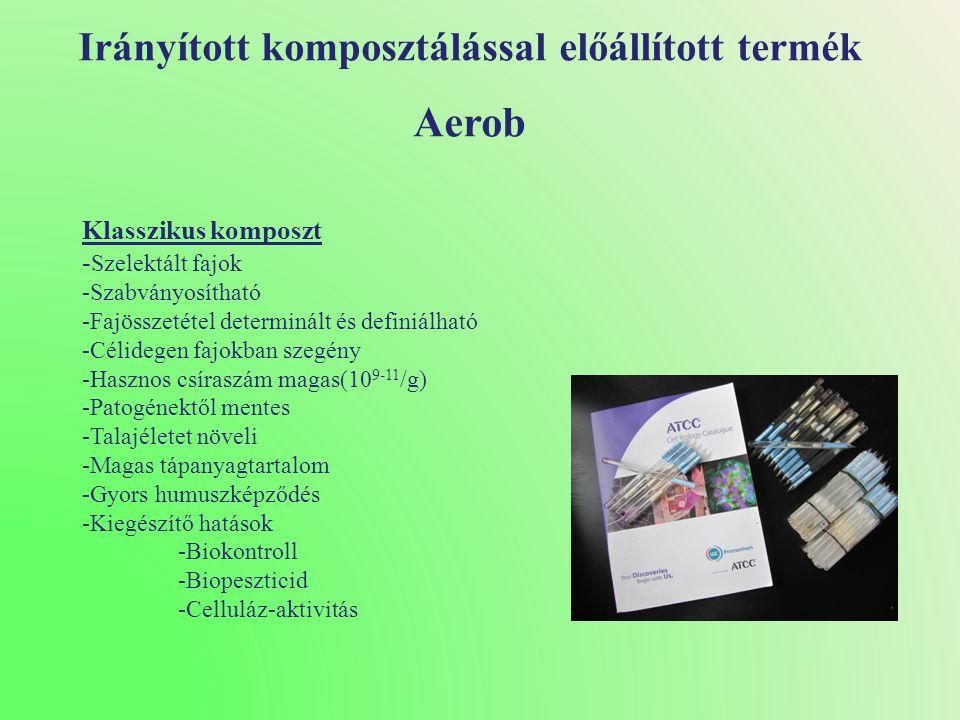 Irányított komposztálással előállított termék Aerob