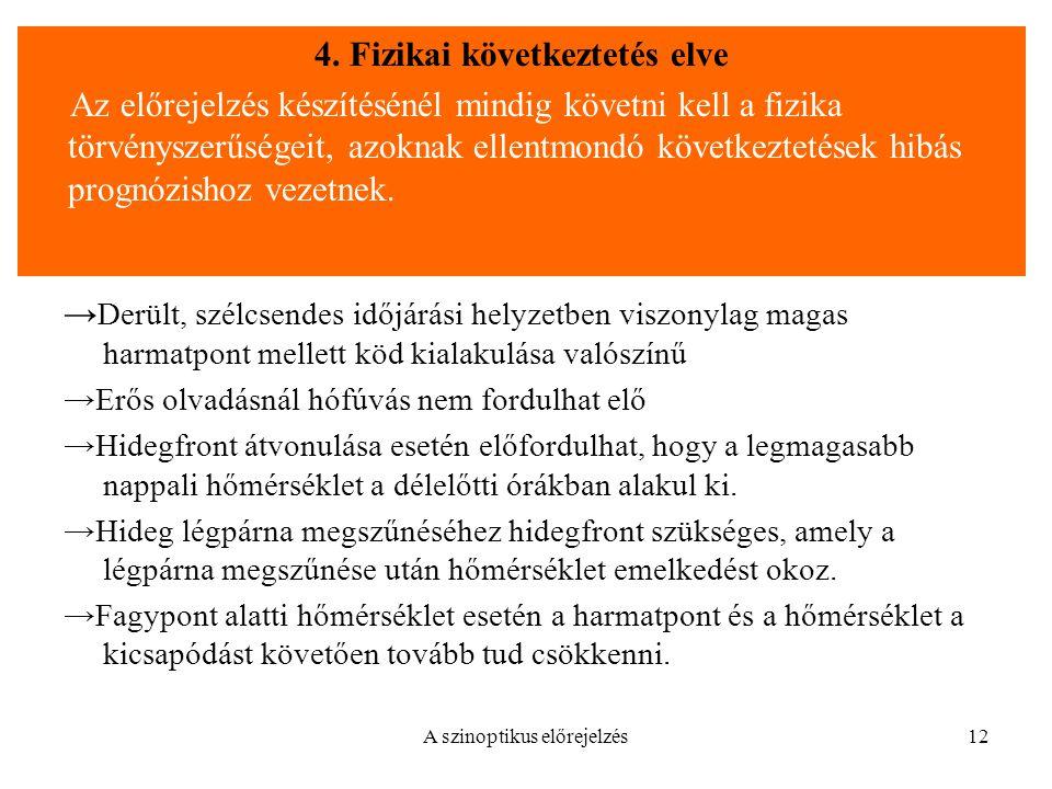 4. Fizikai következtetés elve
