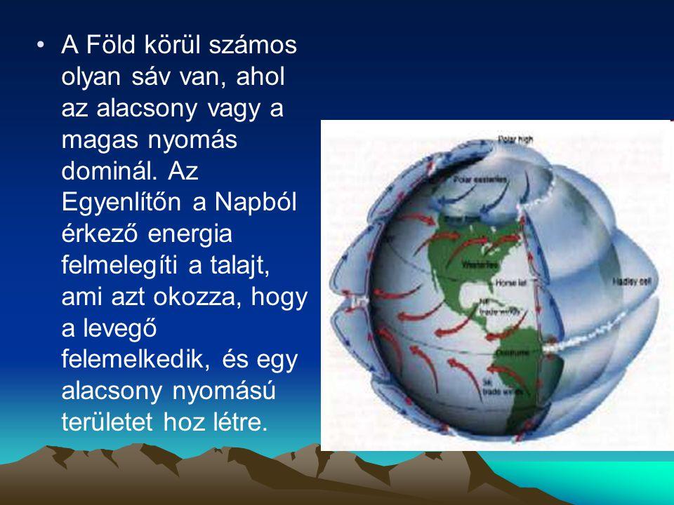 A Föld körül számos olyan sáv van, ahol az alacsony vagy a magas nyomás dominál.