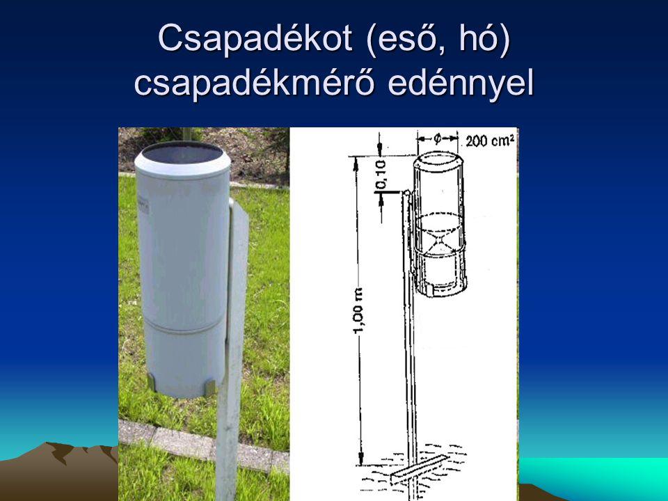 Csapadékot (eső, hó) csapadékmérő edénnyel