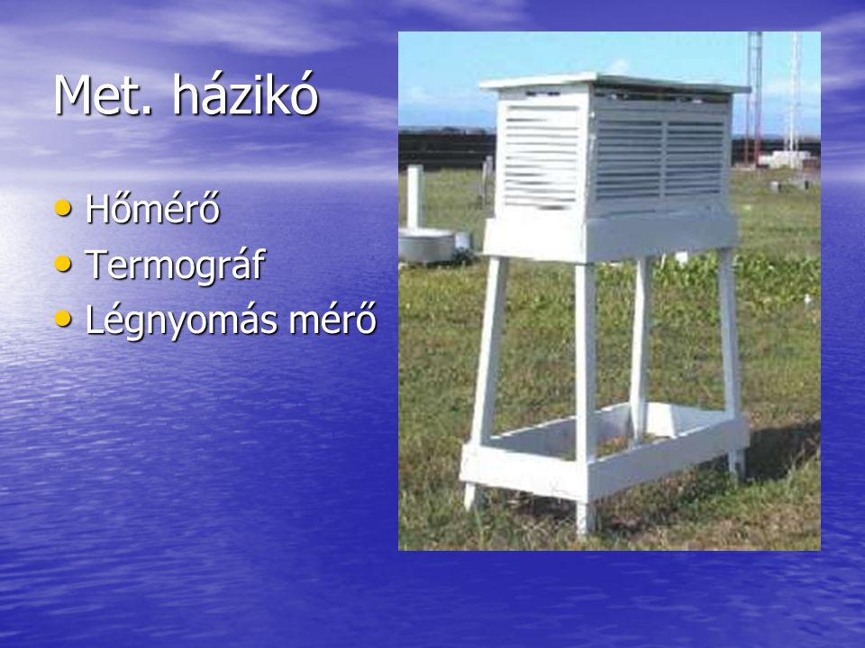 Met. házikó Hőmérő Termográf Légnyomás mérő