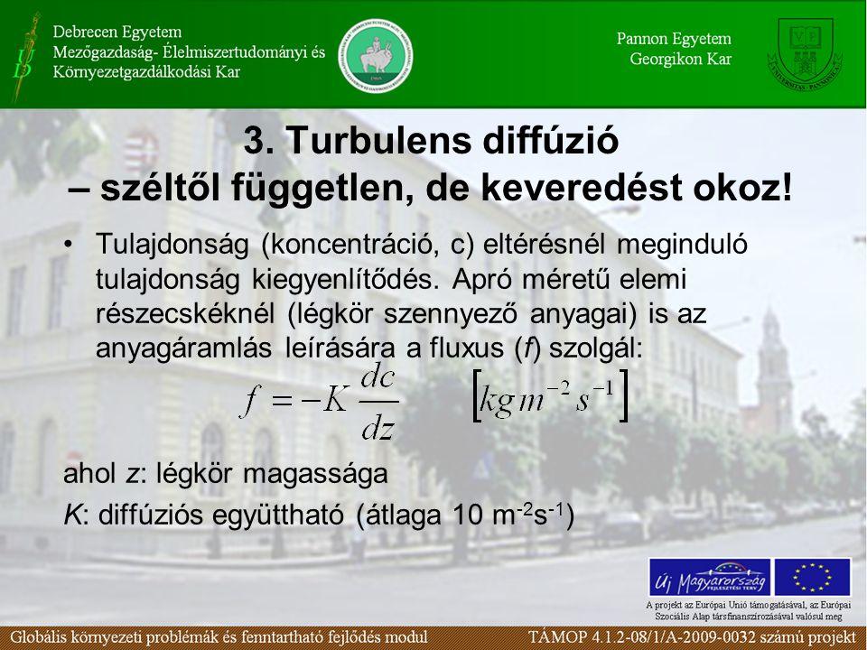 3. Turbulens diffúzió – széltől független, de keveredést okoz!