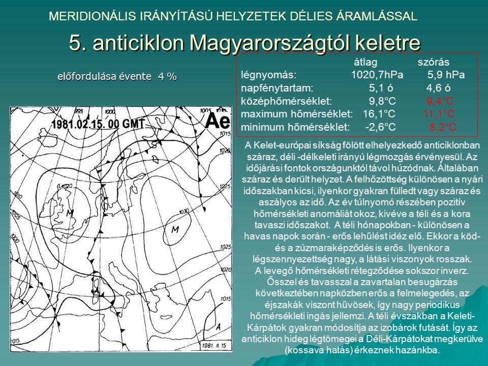 5. anticiklon Magyarországtól keletre