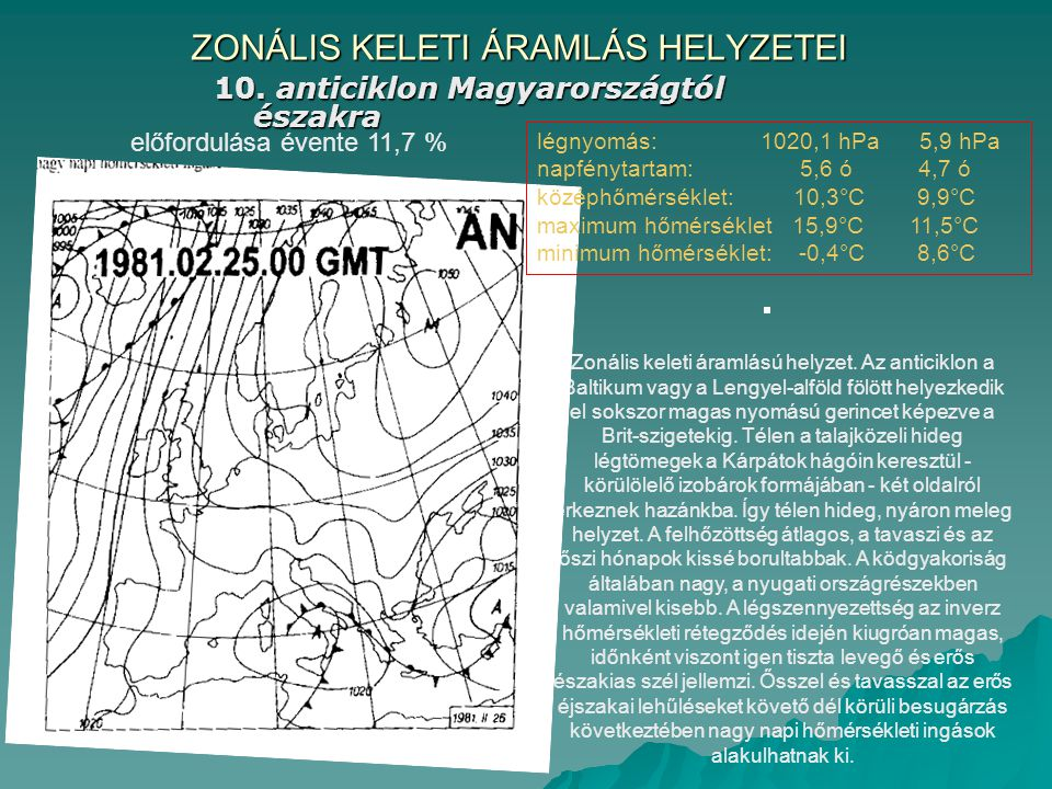 ZONÁLIS KELETI ÁRAMLÁS HELYZETEI