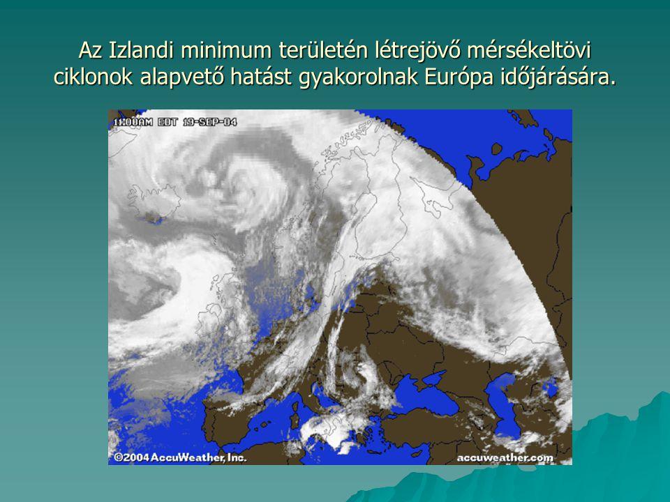 Az Izlandi minimum területén létrejövő mérsékeltövi ciklonok alapvető hatást gyakorolnak Európa időjárására.