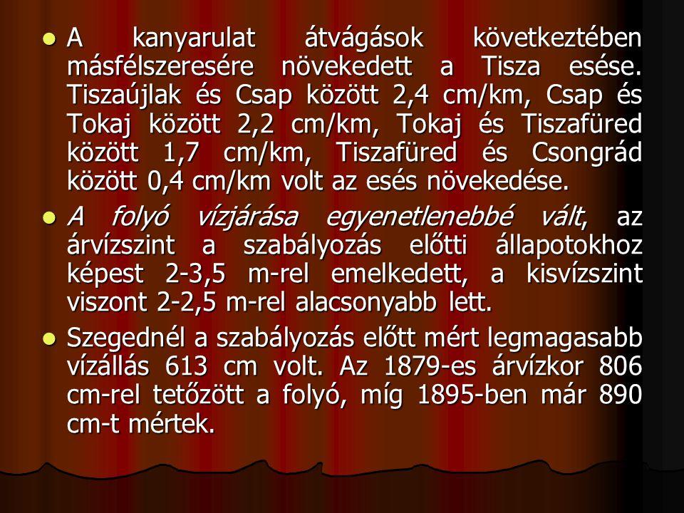 A kanyarulat átvágások következtében másfélszeresére növekedett a Tisza esése. Tiszaújlak és Csap között 2,4 cm/km, Csap és Tokaj között 2,2 cm/km, Tokaj és Tiszafüred között 1,7 cm/km, Tiszafüred és Csongrád között 0,4 cm/km volt az esés növekedése.
