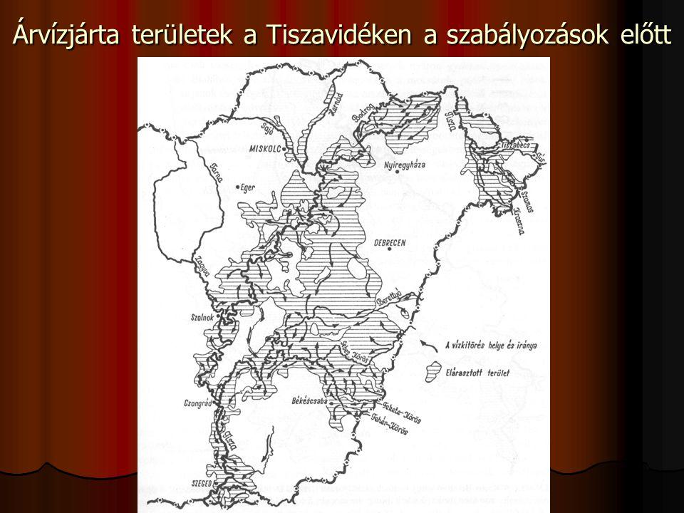 Árvízjárta területek a Tiszavidéken a szabályozások előtt