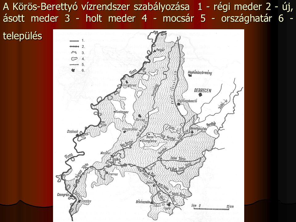 A Körös-Berettyó vízrendszer szabályozása 1 - régi meder 2 - új, ásott meder 3 - holt meder 4 - mocsár 5 - országhatár 6 - település