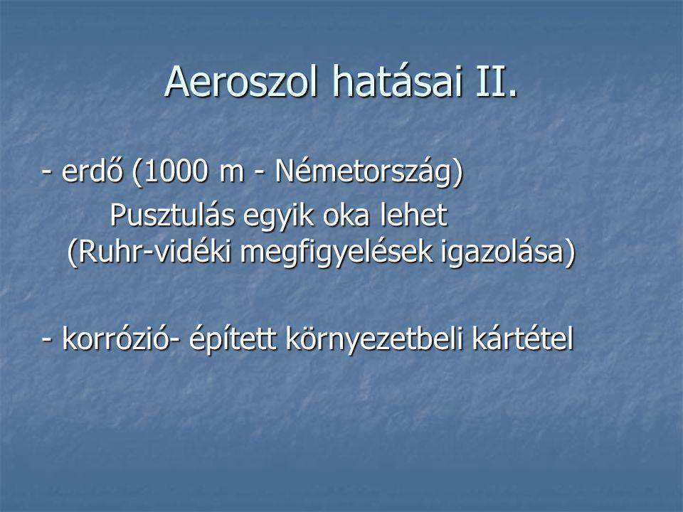 Aeroszol hatásai II. - erdő (1000 m - Németország)