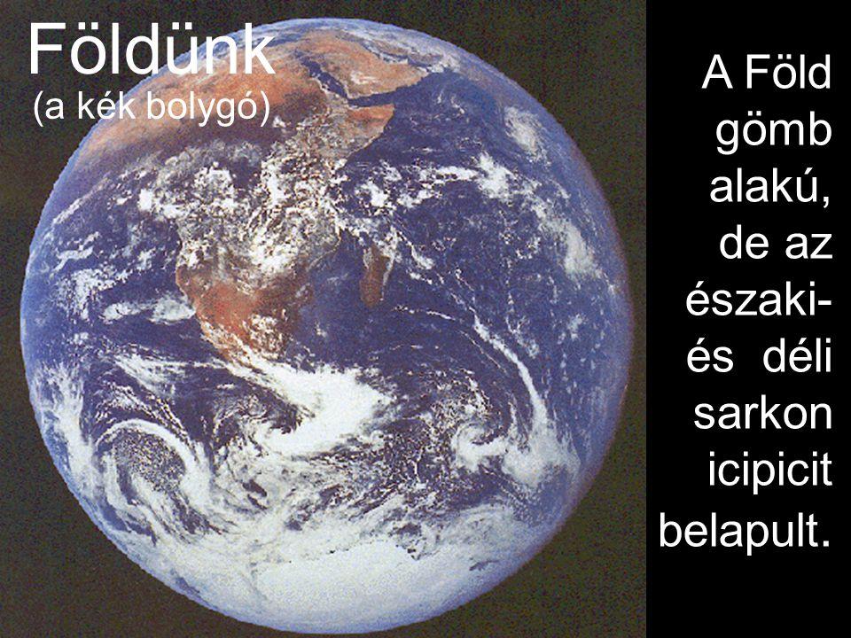 Földünk A Föld gömb alakú, de az északi- és déli sarkon icipicit belapult. (a kék bolygó)