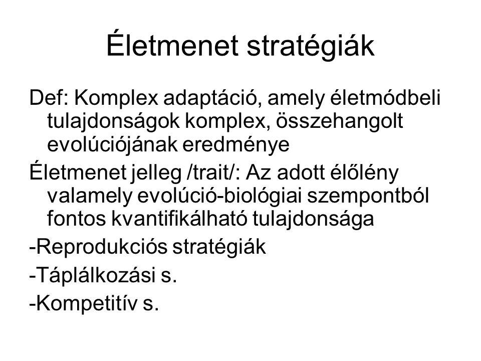 Életmenet stratégiák Def: Komplex adaptáció, amely életmódbeli tulajdonságok komplex, összehangolt evolúciójának eredménye.